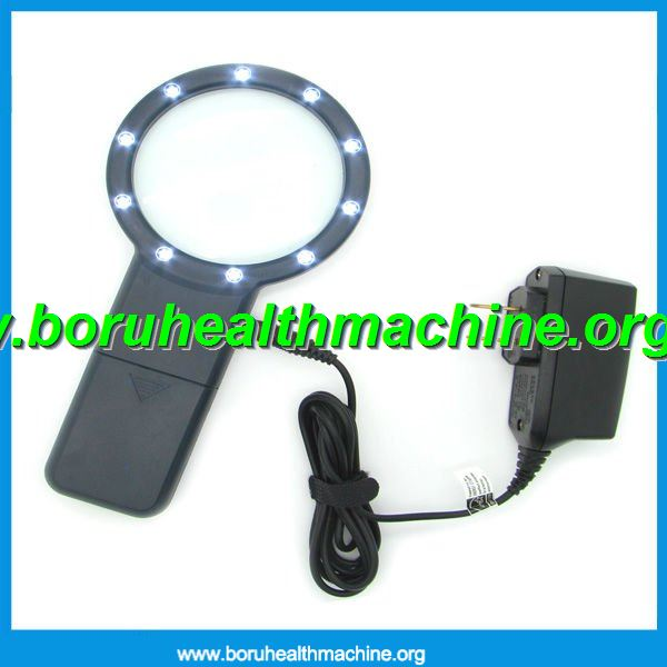 rechargeable handle multifunction 3X magnifying glass with10Led